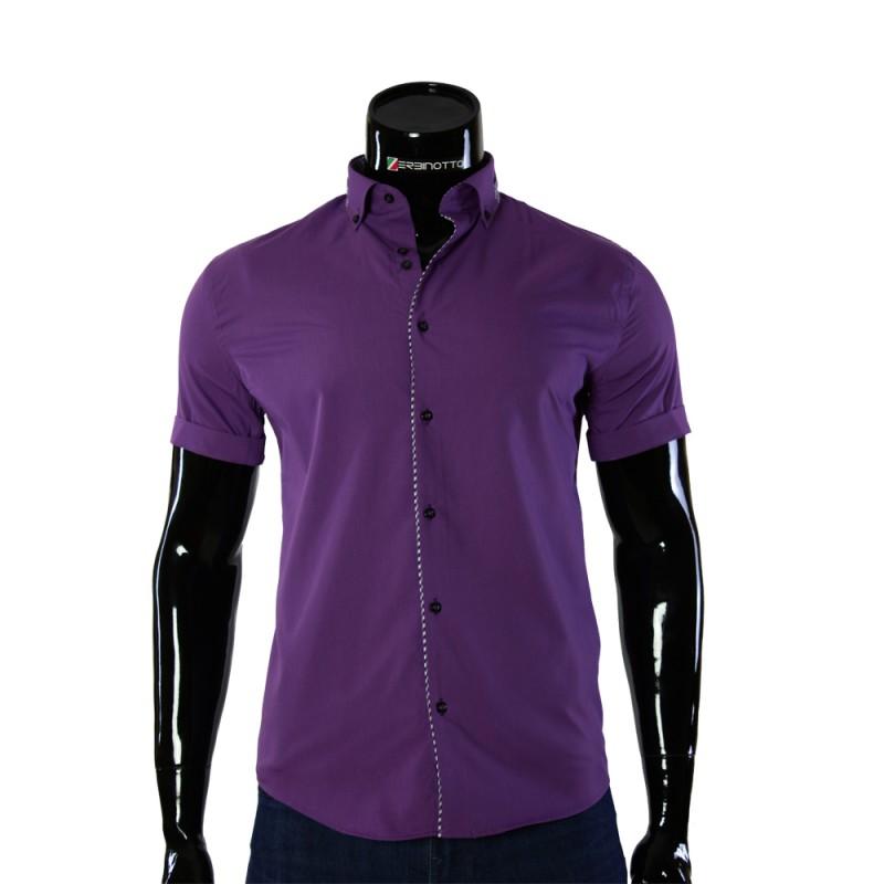 0cbfc6da464116f Мужская сиреневая рубашка со вставками GF 0611-2 с коротким рукавом.