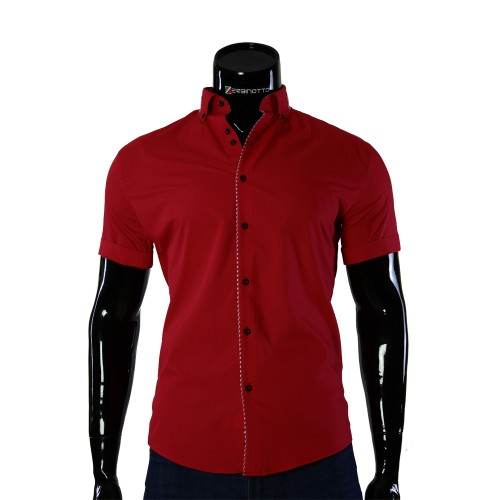 Red slim fit shirt short sleeve GF 0611-3