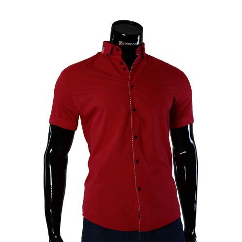 Мужская рубашка однотонная с коротким рукавом GF 0611-3