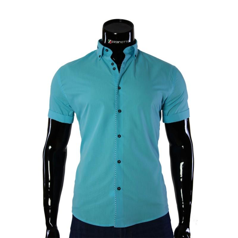 c98f3bbe4 Мужская мятная рубашка со вставками GF 0611-5 с коротким рукавом.