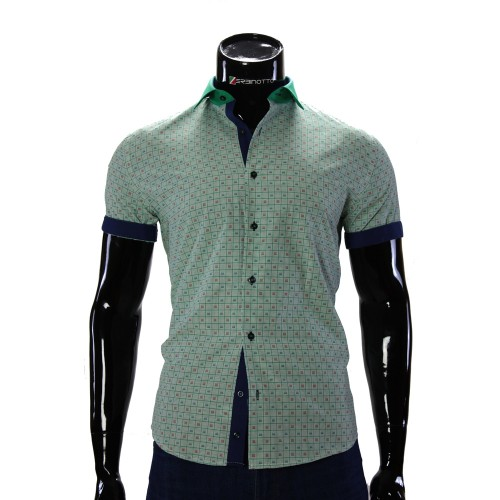 Men's green chekered shirt GF 0607-1