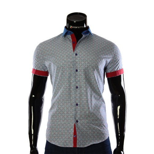 Men's blue chekered shirt GF 0607-2