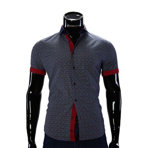 Men's navy chekered shirt GF 0607-3
