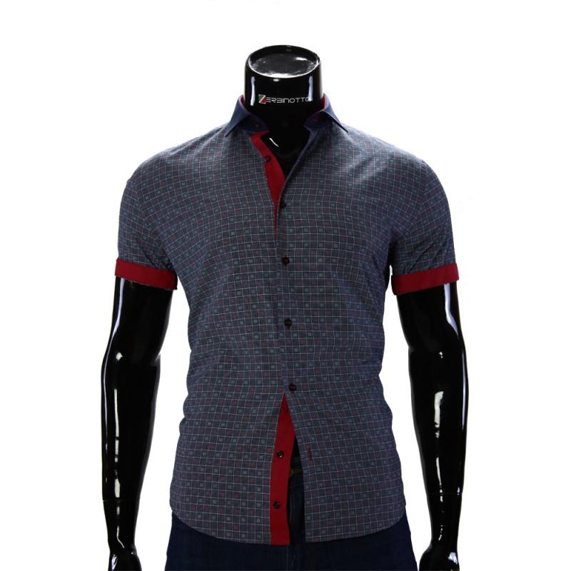 Мужская рубашка в узор с коротким рукавом GF 0607-3