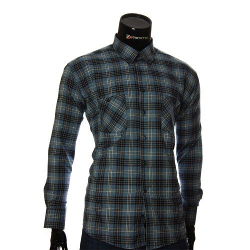 Мужская полуприталенная рубашка в клетку RNM 1851-1