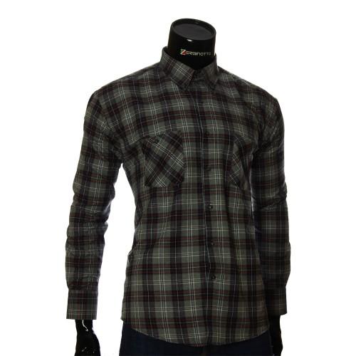 Мужская полуприталенная рубашка в клетку RNM 1851-3