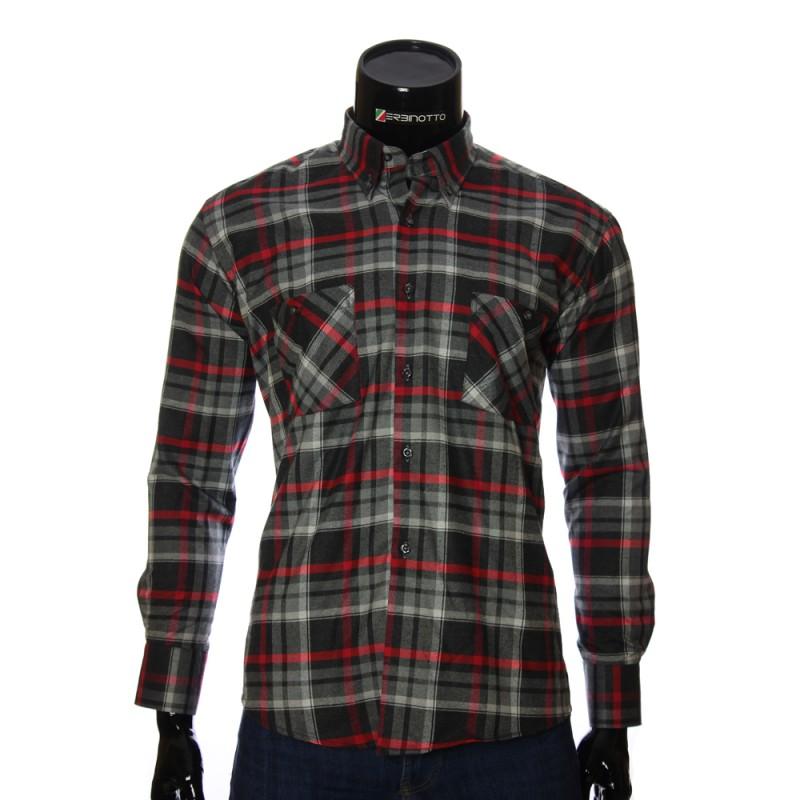 2b04b2c3bb2 Мужская фланелевая рубашка 1851-5 в черно серую и бело алую клетку.