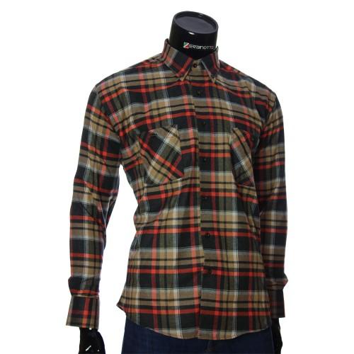 Мужская полуприталенная рубашка в клетку RNM 1851-6