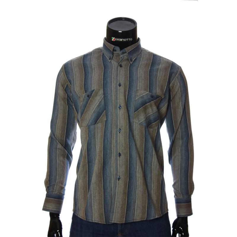 Мужская полуприталенная рубашка в полоску RNM 1851-13