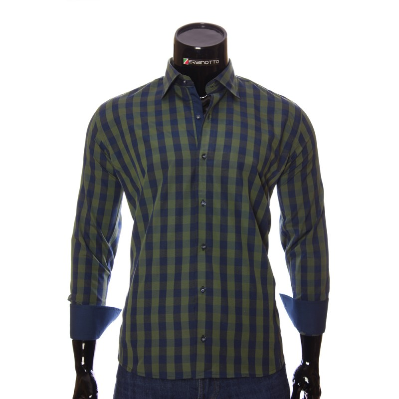 Мужская полуприталенная рубашка в клетку RNM 1845-4