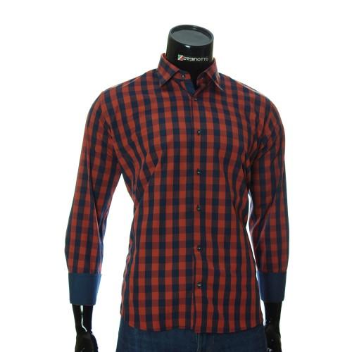 Мужская полуприталенная рубашка в клетку RNM 1845-5