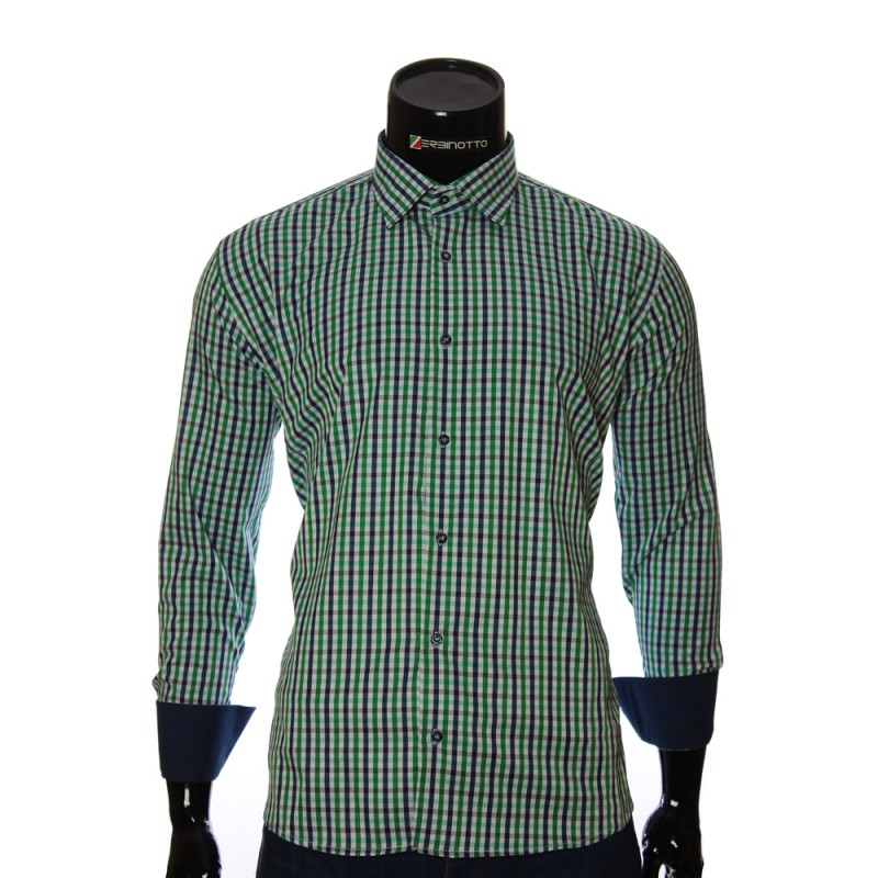 Мужская полуприталенная рубашка в клетку RNM 1845-10