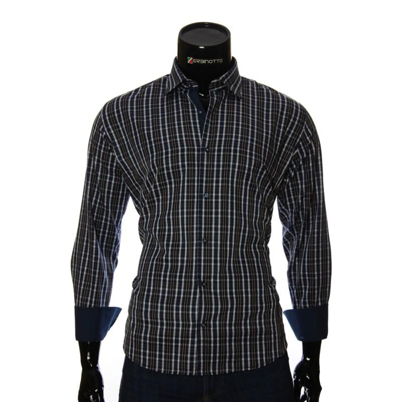 Мужская полуприталенная рубашка в клетку RNM 1845-27