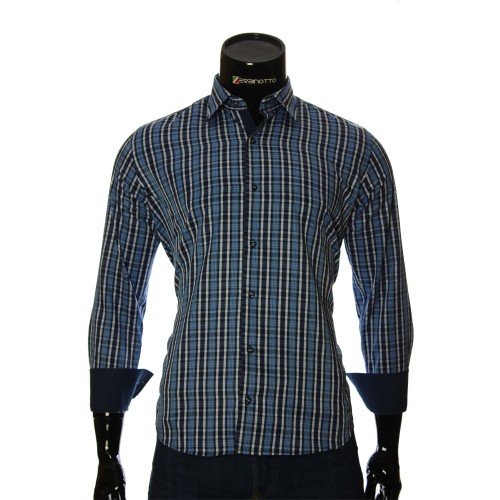 Мужская полуприталенная рубашка в клетку RNM 1845-29