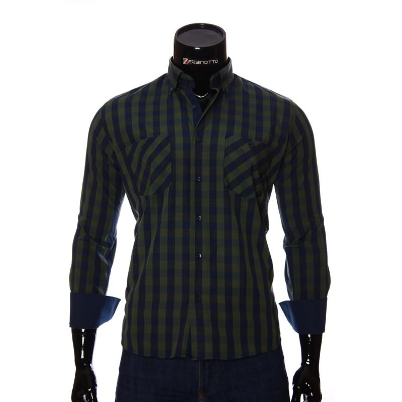 Мужская полуприталенная рубашка в клетку CD 1847-4