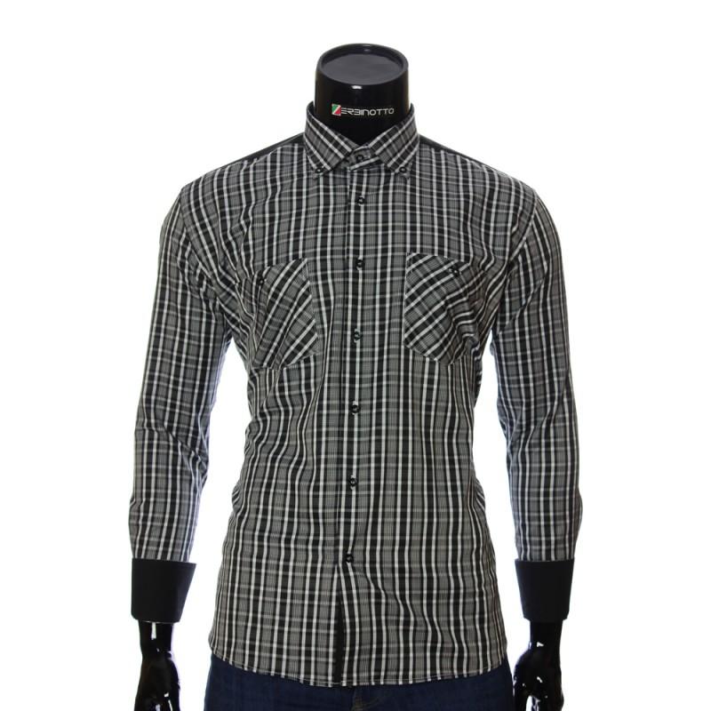 Мужская полуприталенная рубашка в клетку CD 1847-28