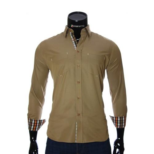 Мужская однотонная полуприталенная рубашка CD 1865-7