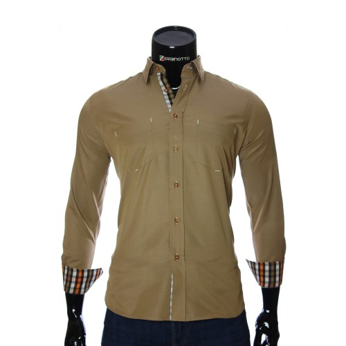 Men`s Regular Fit beige shirt CD 1865-7