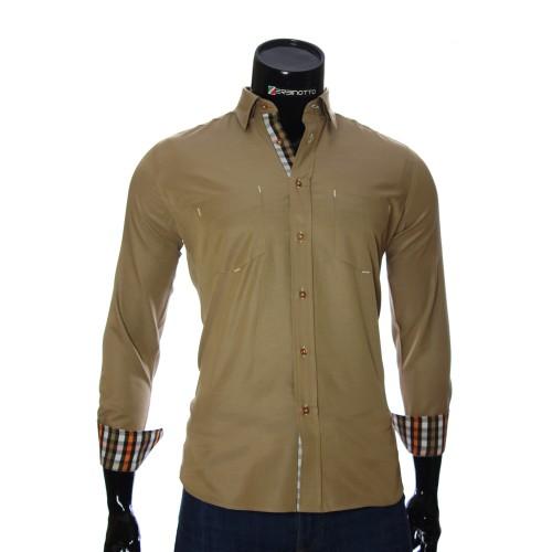 Мужская полуприталенная рубашка в клетку CD 1865-7