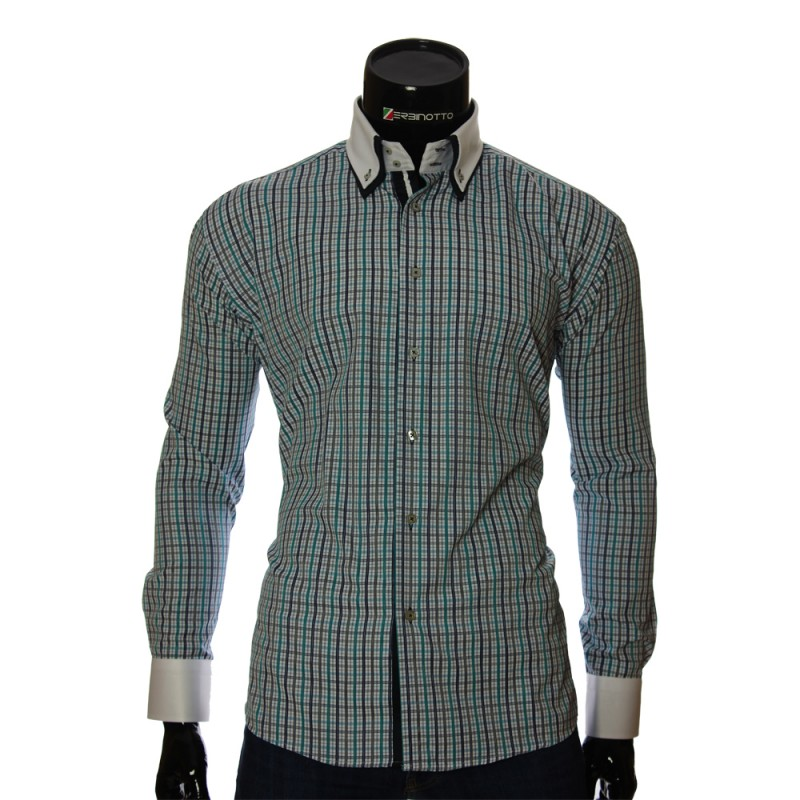 Мужская полуприталенная рубашка в клетку W 1881-4