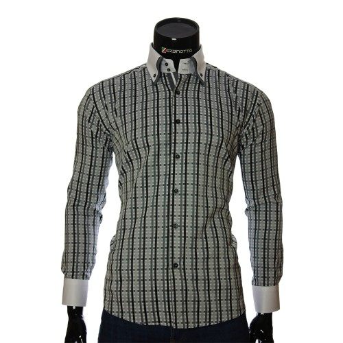 Мужская полуприталенная рубашка в клетку W 1881-5