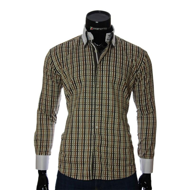 Мужская полуприталенная рубашка в клетку W 1881-6