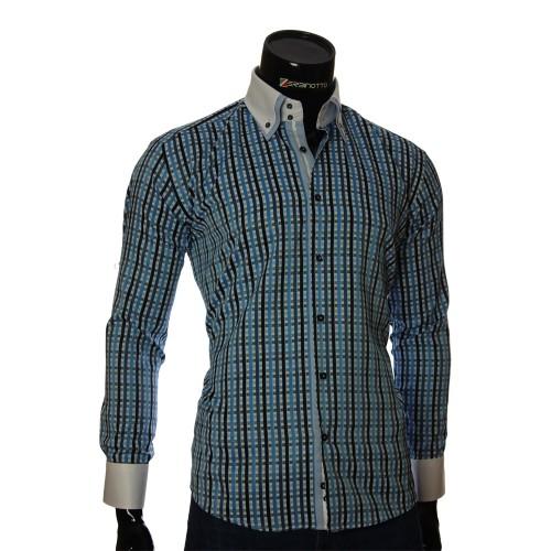 Мужская полуприталенная рубашка в клетку W 1881-7