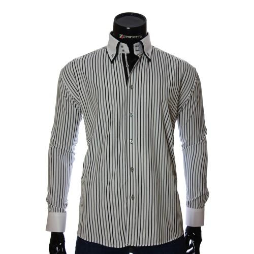 Мужская полуприталенная рубашка в полоску W 1881-9