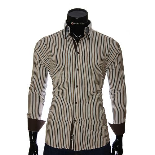 Мужская полуприталенная рубашка в полоску W 1881-10
