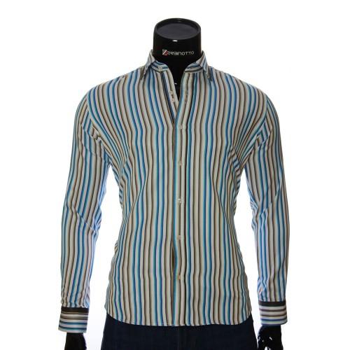 Мужская полуприталенная рубашка в полоску LP 1884-18