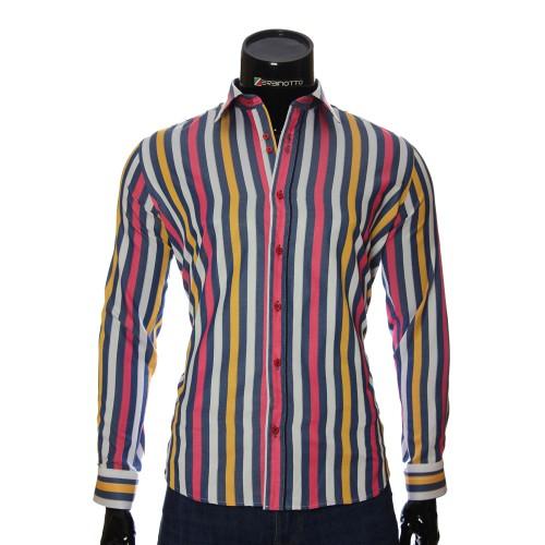 Мужская полуприталенная рубашка в полоску LP 1884-23