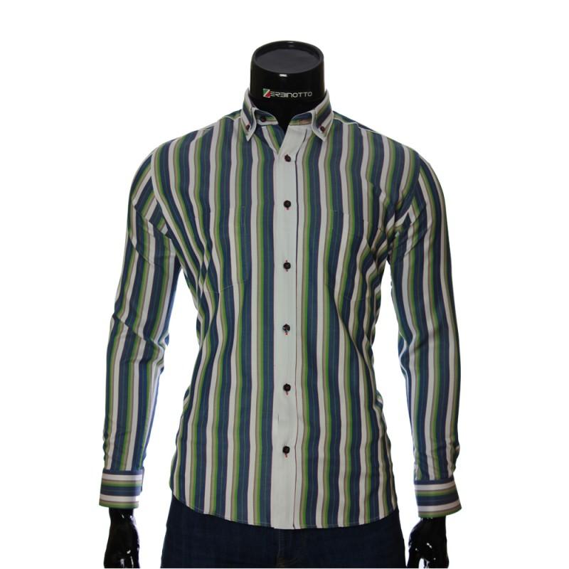 Мужская полуприталенная рубашка в полоску SAR 1888-2