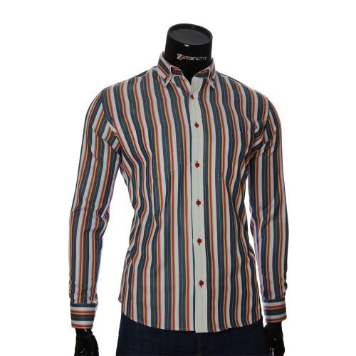 Мужская полуприталенная рубашка в полоску SAR 1888-3