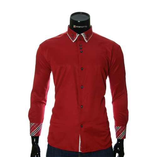 Мужская однотонная полуприталенная рубашка LP 1895-3