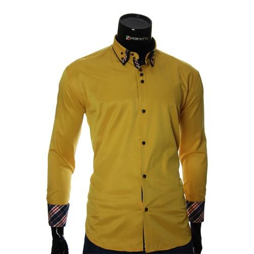 Мужская однотонная полуприталенная рубашка LP 1895-5