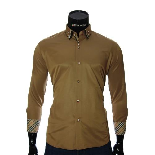 Мужская однотонная полуприталенная рубашка LP 1895-7