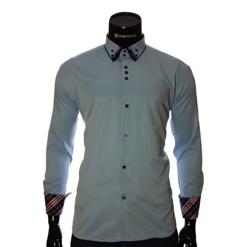 Мужская однотонная полуприталенная рубашка LP 1895-11