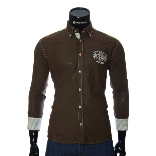 Мужская однотонная полуприталенная рубашка M 1905-5