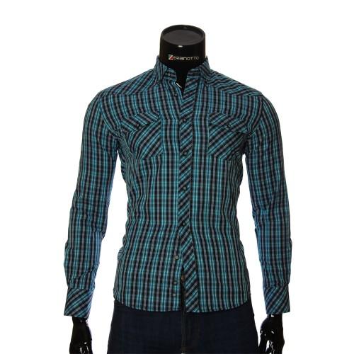 Мужская приталенная рубашка в клетку GF 0114-1