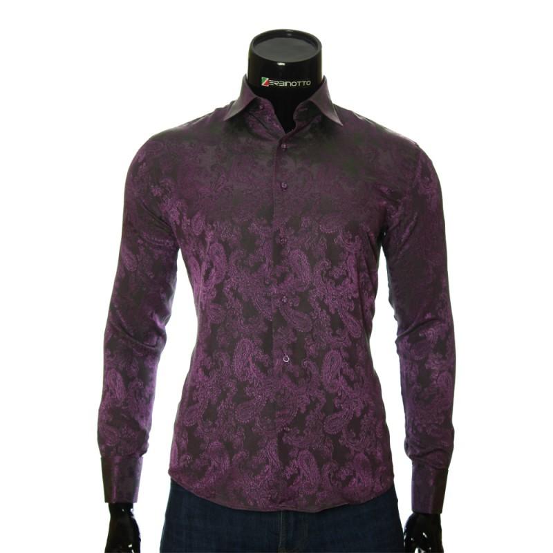 853e0200b35b199 Мужская сиреневая рубашка в узор под запонки. Купить брендовую рубашку