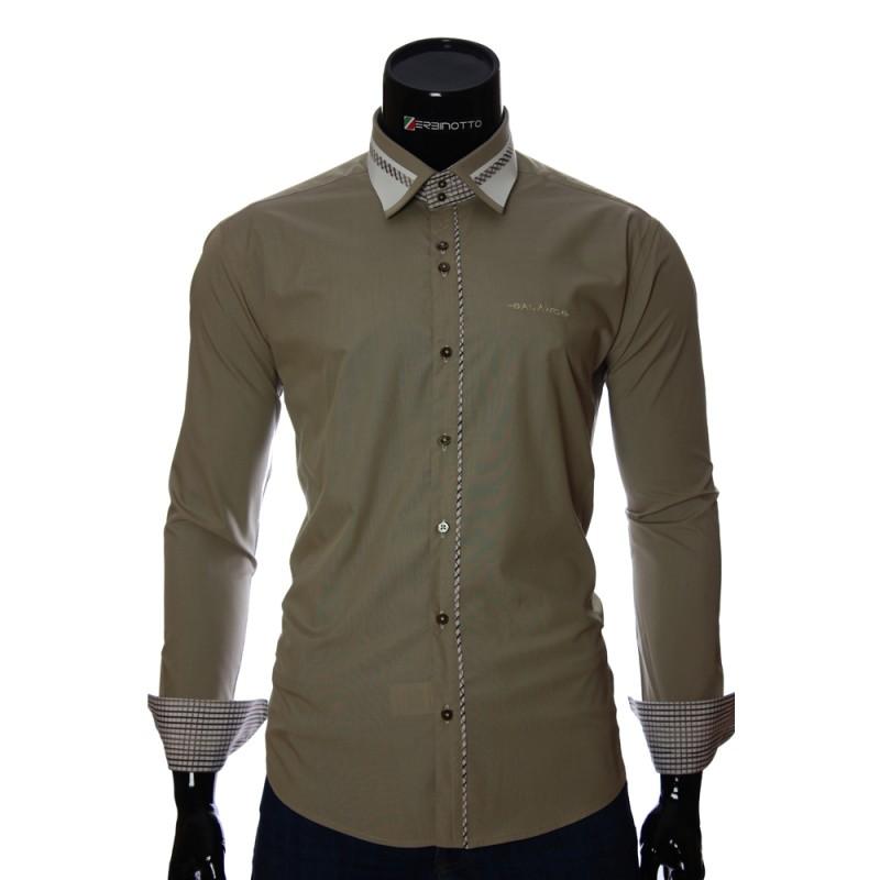 7136c63bb918cae Мужская оливковая рубашка приталенная стильная. Купить мужскую рубашку