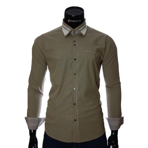Мужская однотонная приталенная рубашка BL 0313-1