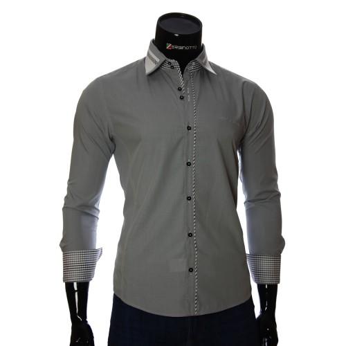 Мужская однотонная приталенная рубашка BL 0313-3