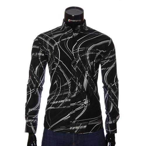 Мужская приталенная рубашка в узор NP 1110-1