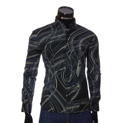 Мужская приталенная рубашка в узор NP 1110