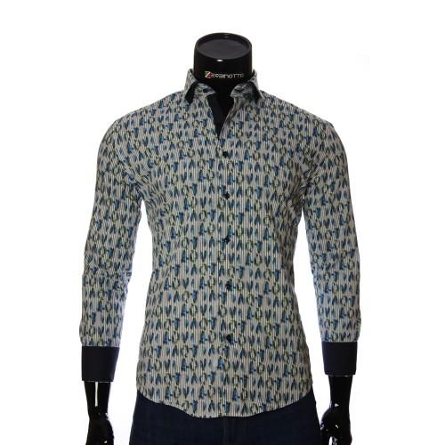Мужская приталенная рубашка в узор NP 1280-1
