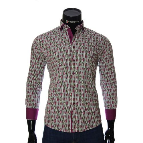 Мужская приталенная рубашка в узор NP 1280-3