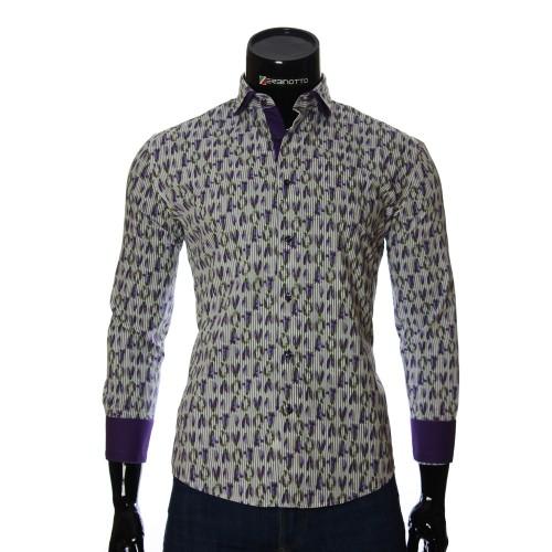 Мужская приталенная рубашка в узор NP 1280