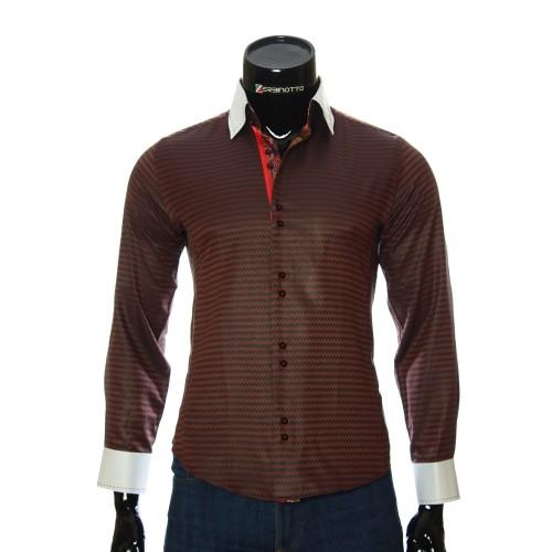 Мужская приталенная рубашка в узор BEL 1444