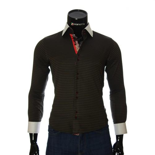 Мужская приталенная рубашка в узор BEL 1445